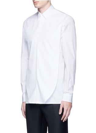 Front View - Click To Enlarge - Maison Margiela - Oversize bib cotton poplin shirt