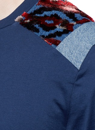 Detail View - Click To Enlarge - Maison Margiela - Velvet and denim patchwork T-shirt