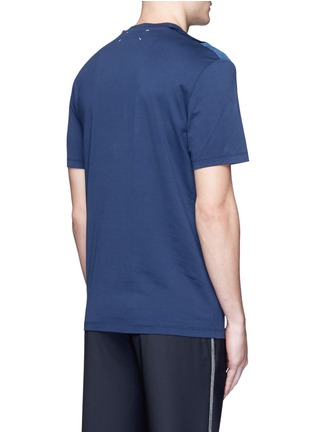 Back View - Click To Enlarge - Maison Margiela - Velvet and denim patchwork T-shirt