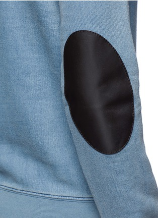 Detail View - Click To Enlarge - Maison Margiela - Calfskin leather elbow patch sweatshirt