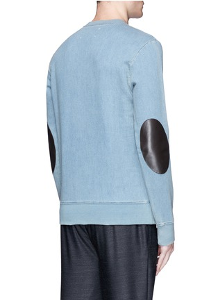 Back View - Click To Enlarge - Maison Margiela - Calfskin leather elbow patch sweatshirt