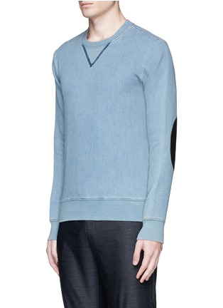 Front View - Click To Enlarge - Maison Margiela - Calfskin leather elbow patch sweatshirt