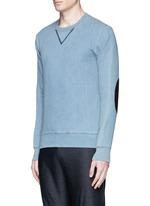 Calfskin leather elbow patch sweatshirt
