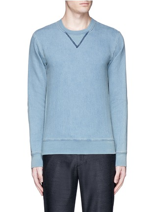 Main View - Click To Enlarge - Maison Margiela - Calfskin leather elbow patch sweatshirt