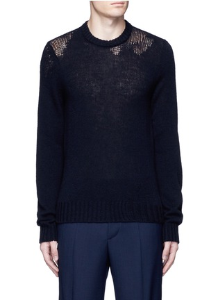 Main View - Click To Enlarge - Maison Margiela - Wool mixed gauge knit sweater