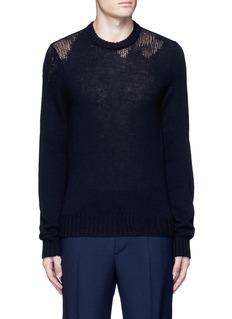 Maison MargielaWool mixed gauge knit sweater