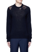 Wool mixed gauge knit sweater