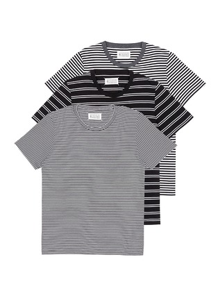 Figure View - Click To Enlarge - Maison Margiela - Stripe cotton T-shirt three-pack