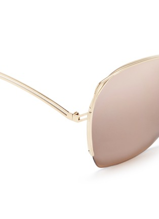 Detail View - Click To Enlarge - Victoria Beckham - 'Fine Wave' cutout temple 18k gold plated mirror sunglasses