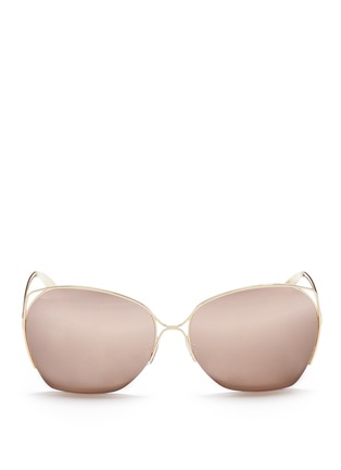 Main View - Click To Enlarge - Victoria Beckham - 'Fine Wave' cutout temple 18k gold plated mirror sunglasses