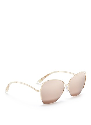 Figure View - Click To Enlarge - Victoria Beckham - 'Fine Wave' cutout temple 18k gold plated mirror sunglasses