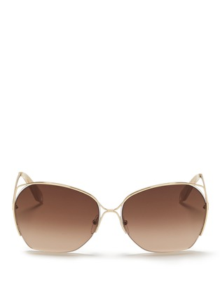 Main View - Click To Enlarge - Victoria Beckham - 'Fine Wave' cutout temple metal sunglasses