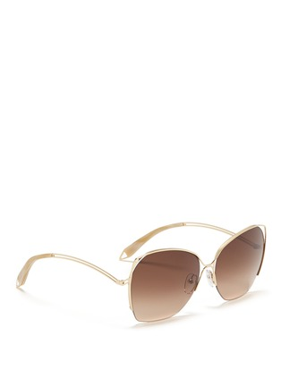 Figure View - Click To Enlarge - Victoria Beckham - 'Fine Wave' cutout temple metal sunglasses