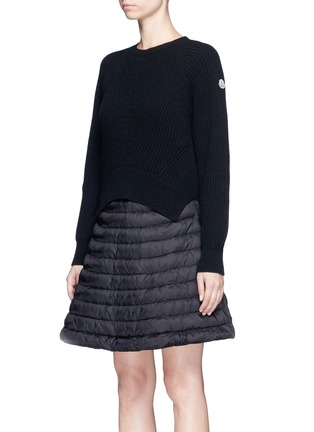Front View - Click To Enlarge - Moncler - 'Abito' wool-cashmere padded down sweater dress