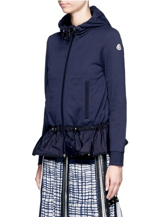 Front View - Click To Enlarge - Moncler - Zip front jersey windbreaker mix hoodie