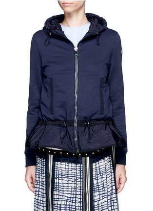 Main View - Click To Enlarge - Moncler - Zip front jersey windbreaker mix hoodie