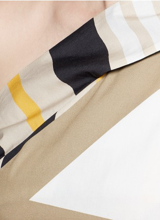 Detail View - Click To Enlarge - MSGM - Variegated stripe ribbon tie poplin top