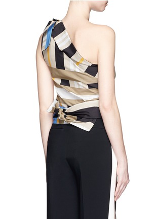 Back View - Click To Enlarge - MSGM - Variegated stripe ribbon tie poplin top