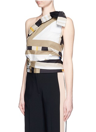 Front View - Click To Enlarge - MSGM - Variegated stripe ribbon tie poplin top