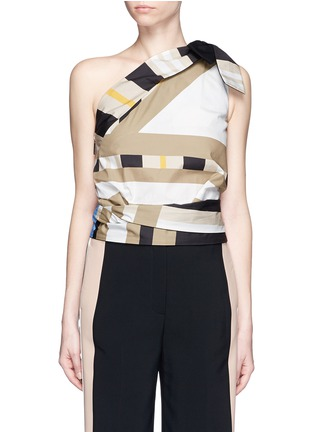 Main View - Click To Enlarge - MSGM - Variegated stripe ribbon tie poplin top