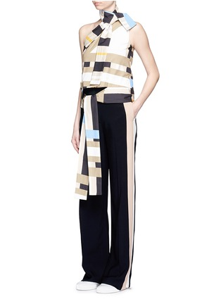 Figure View - Click To Enlarge - MSGM - Variegated stripe ribbon tie poplin top
