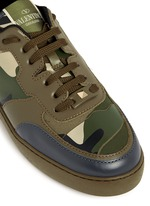 Camouflage print leather canvas sneakers