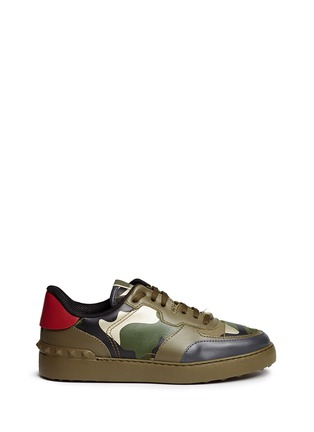 Main View - Click To Enlarge - Valentino - Camouflage print leather canvas sneakers