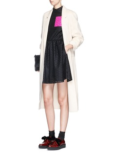 MSGMLasercut floral fleece wool felt dress