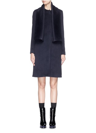 Detail View - Click To Enlarge - MSGM - Brushed wool felt sash panel coat