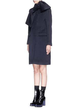 Front View - Click To Enlarge - MSGM - Brushed wool felt sash panel coat