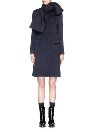 Main View - Click To Enlarge - MSGM - Brushed wool felt sash panel coat