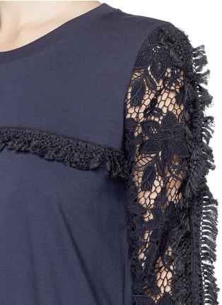 细节 - 点击放大 - SEE BY CHLOÉ - Guipure lace sleeve tassel cotton T-shirt