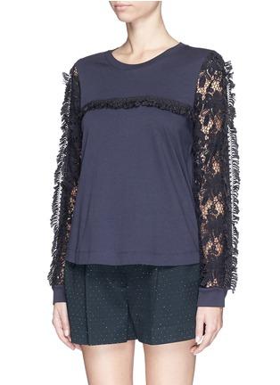 正面 -点击放大 - SEE BY CHLOÉ - Guipure lace sleeve tassel cotton T-shirt