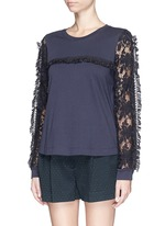 Guipure lace sleeve tassel cotton T-shirt
