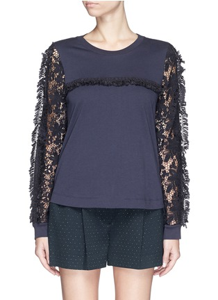 See by Chloé-Guipure lace sleeve tassel cotton T-shirt