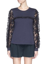 Guipure lace sleeve tassel cotton T-shirt