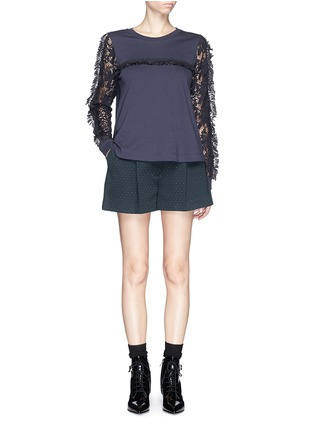 See by Chloé - Guipure lace sleeve tassel cotton T-shirt
