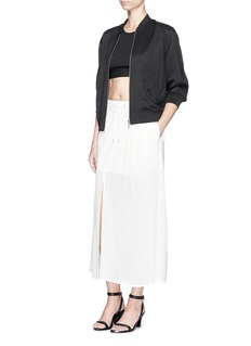 HELMUT LANG Centre split textured crepe skirt