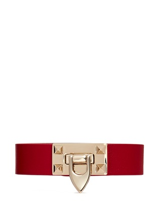 Main View - Click To Enlarge - Valentino - 'Rockstud' hinge lock leather bracelet
