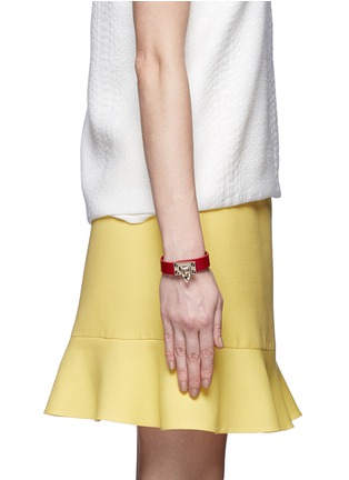 Figure View - Click To Enlarge - Valentino - 'Rockstud' hinge lock leather bracelet