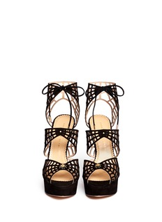 CHARLOTTE OLYMPIACaught in Charlotte's Web' suede caged sandals