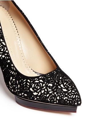 Detail View - Click To Enlarge - Charlotte Olympia - 'Debbie' floral lasercut suede platform stilettos