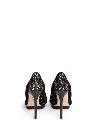 Back View - Click To Enlarge - Charlotte Olympia - 'Debbie' floral lasercut suede platform stilettos