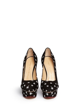 Figure View - Click To Enlarge - Charlotte Olympia - 'Josie' crystal cactus print suede platform pumps