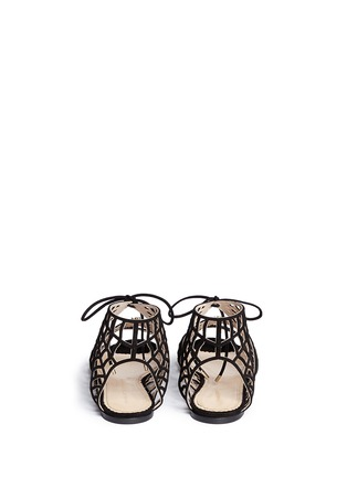 Back View - Click To Enlarge - Charlotte Olympia - 'Miss Muffet' caged suede flat sandals