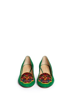 CHARLOTTE OLYMPIA 'Day of the Dead' embroidery suede slip-ons