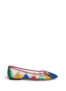CHARLOTTE OLYMPIA 'Ana' leather patchwork clear PVC flats