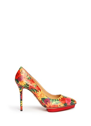 Main View - Click To Enlarge - Charlotte Olympia - 'Debbie' Frida flower print leather pumps
