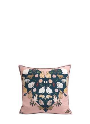 Main View - Click To Enlarge - Silken Favours - 'Bashful Bunnies' silk cushion