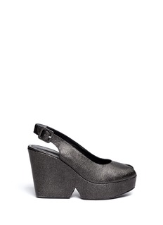 ROBERT CLERGERIE 'Dylanh' glitter peep toe wedges